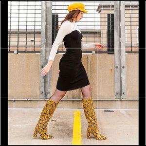 Jeffrey Campbell Siren Knee-High Yellow Snake Boot